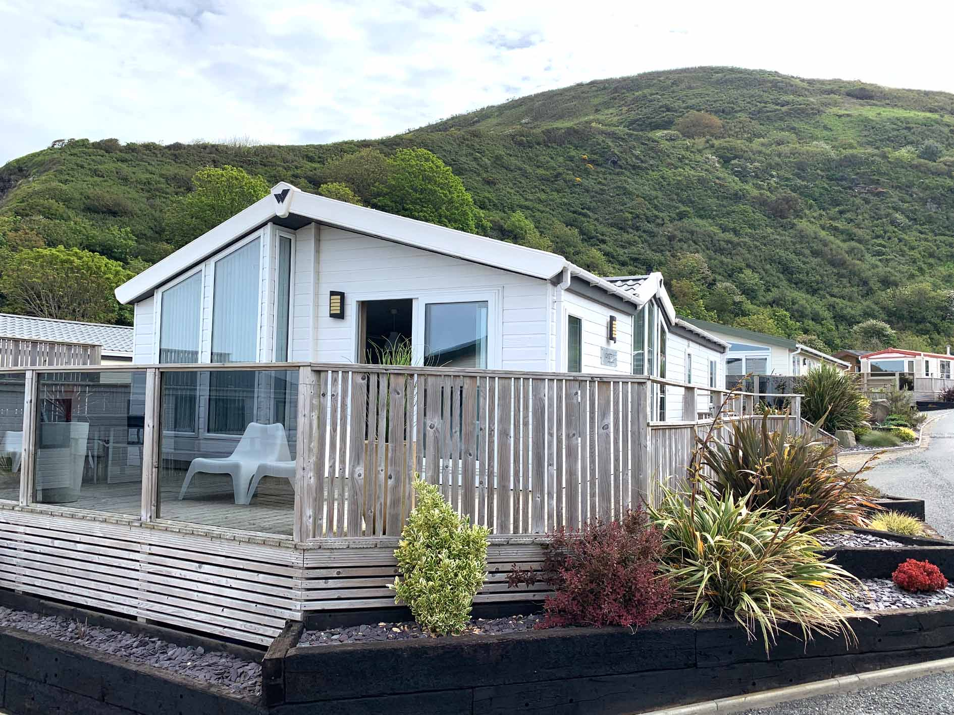 Oyster Bay lodge External picture with decking Gwalia Falls Retreat Tresaith Beach