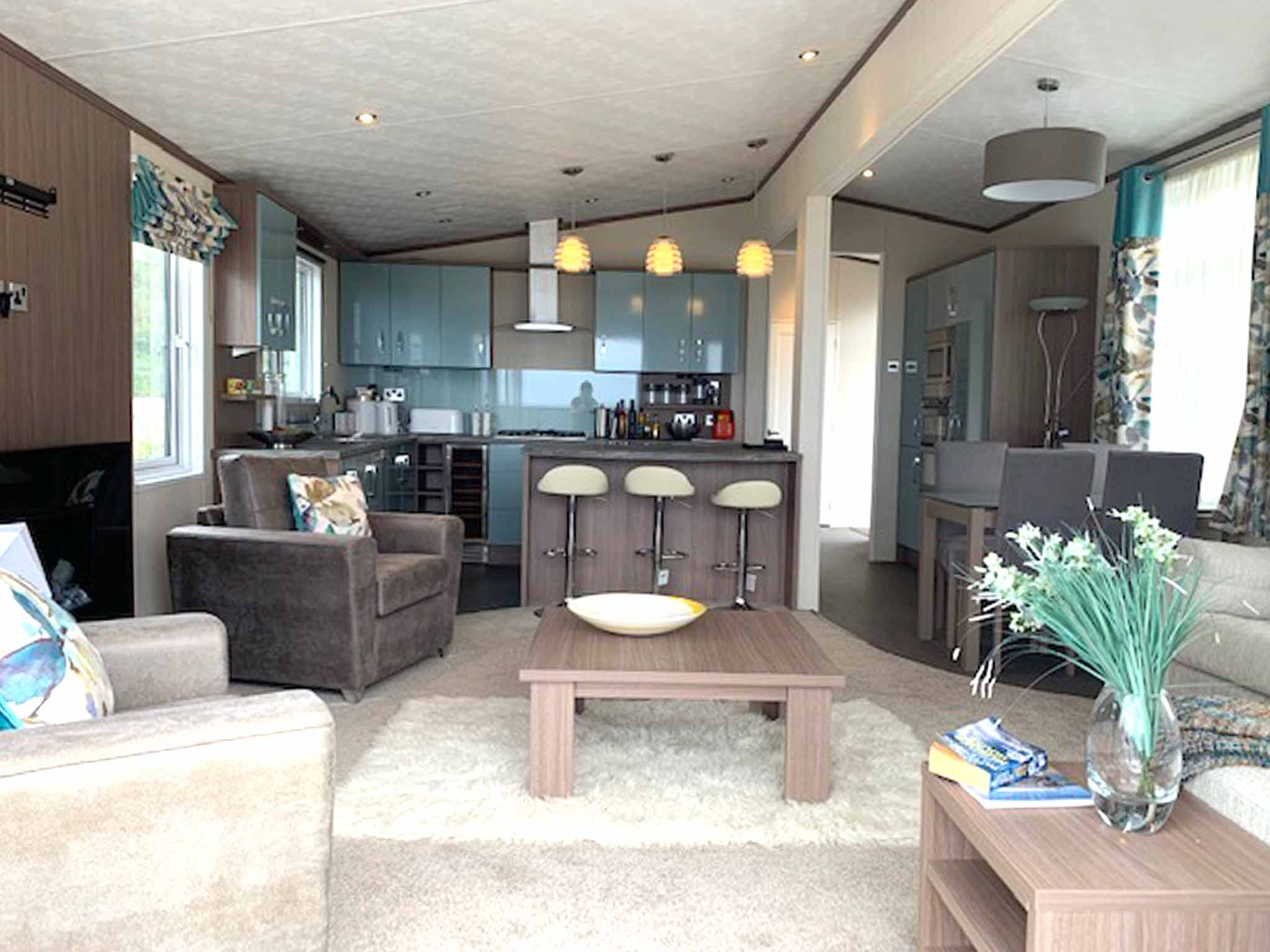 Pemberton Arrondale lodge living room kitchen open plan Gwalia Falls Retreat Tresaith Beach